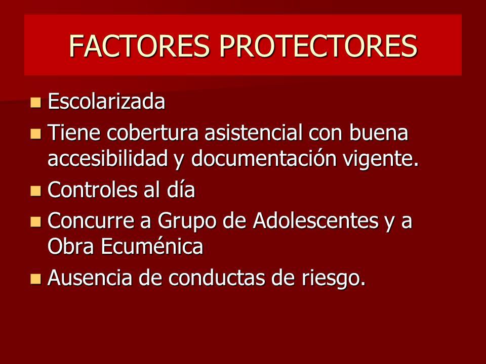 FACTORES PROTECTORES Escolarizada Escolarizada Tiene cobertura asistencial con buena accesibilidad y documentación vigente. Tiene cobertura asistencia