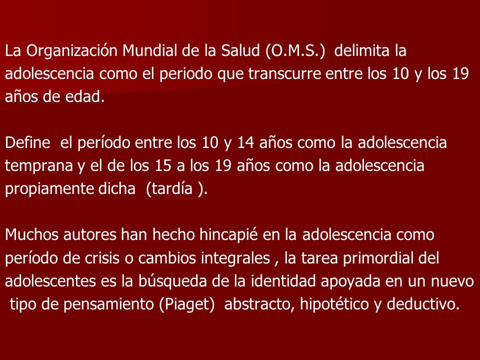 La Organización Mundial de la Salud (O.M.S.) delimita la adolescencia como el periodo que transcurre entre los 10 y los 19 años de edad. Define el per