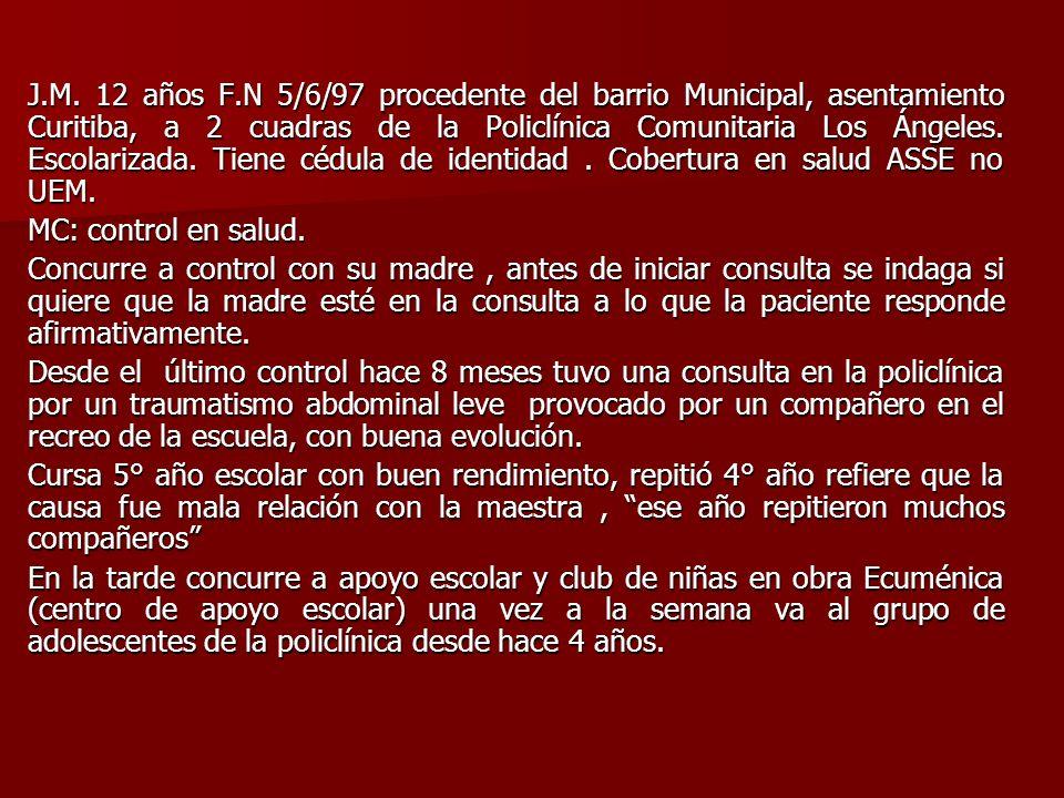 J.M. 12 años F.N 5/6/97 procedente del barrio Municipal, asentamiento Curitiba, a 2 cuadras de la Policlínica Comunitaria Los Ángeles. Escolarizada. T