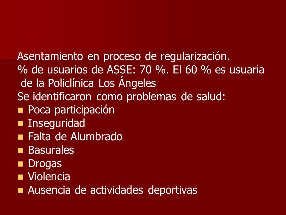 Asentamiento en proceso de regularización. % de usuarios de ASSE: 70 %. El 60 % es usuaria de la Policlínica Los Ángeles Se identificaron como problem