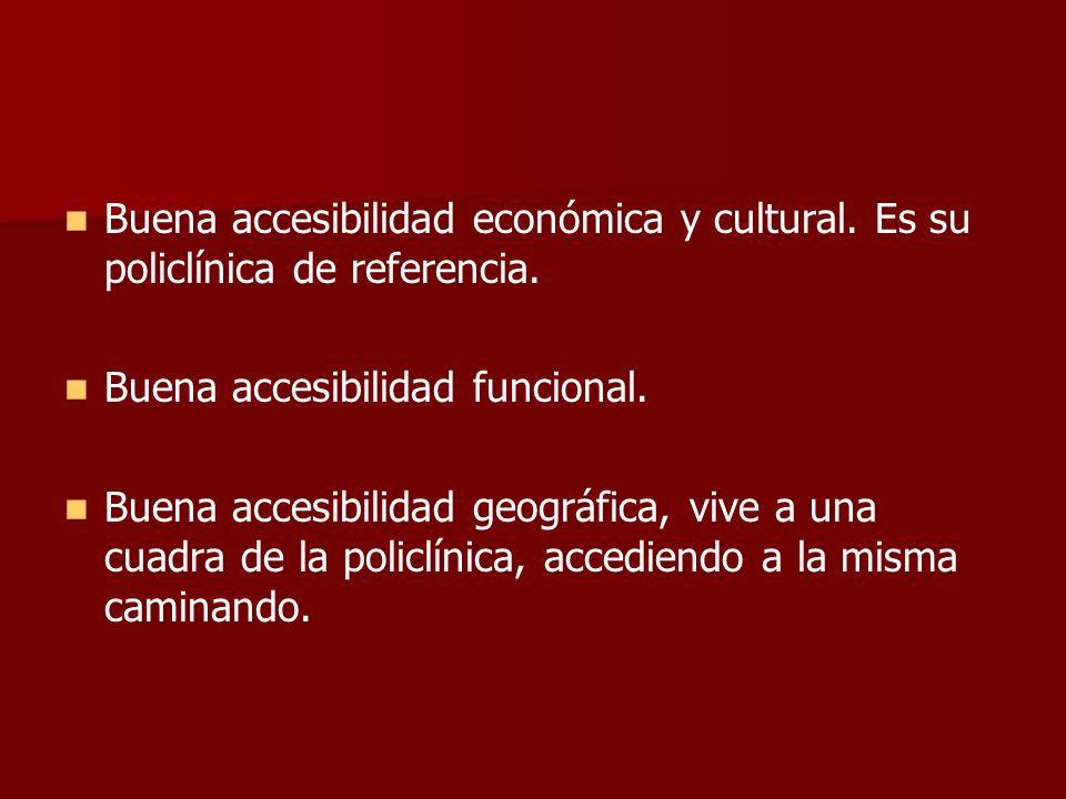 Buena accesibilidad económica y cultural. Es su policlínica de referencia. Buena accesibilidad funcional. Buena accesibilidad geográfica, vive a una c