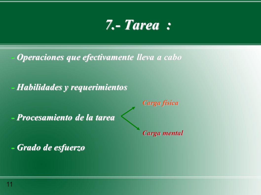 7.- Tarea : 7.- Tarea : - Operaciones que efectivamente lleva a cabo - Habilidades y requerimientos Carga física Carga física - Procesamiento de la ta