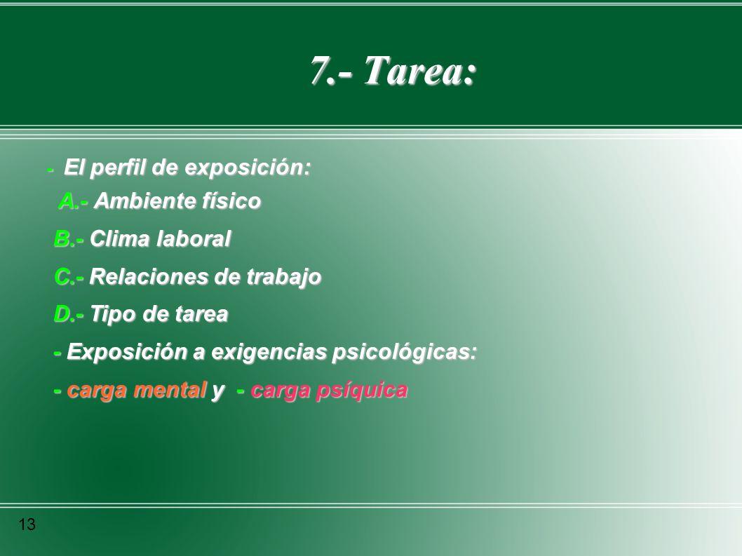 7.- Tarea: 7.- Tarea: 13 - El perfil de exposición: A.- Ambiente físico A.- Ambiente físico B.- Clima laboral B.- Clima laboral C.- Relaciones de trab
