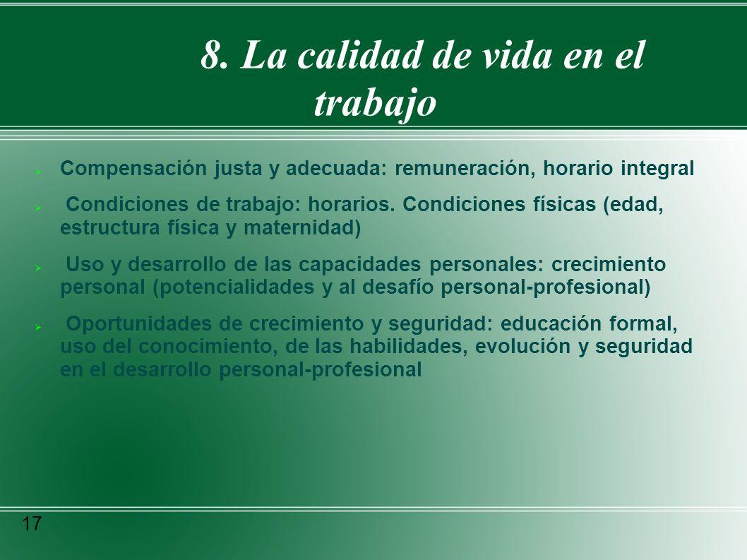 8. La calidad de vida en el trabajo Compensación justa y adecuada: remuneración, horario integral Condiciones de trabajo: horarios. Condiciones física