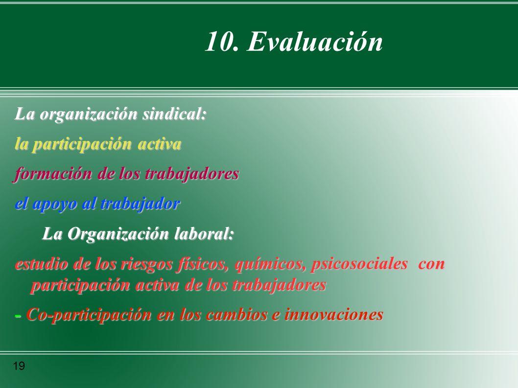 10. Evaluación La organización sindical: la participación activa formación de los trabajadores el apoyo al trabajador La Organización laboral: La Orga
