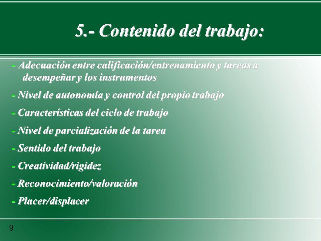 6.- Puesto de trabajo: 10 - - Requerimientos y exigencias - Características que debe reunir la persona - Formación/capacitación - Conocimientos específicos (saber/hacer) - Aptitud, capacidad, habilidades - Objetos y tareas específicas - Cumplimiento de la tarea