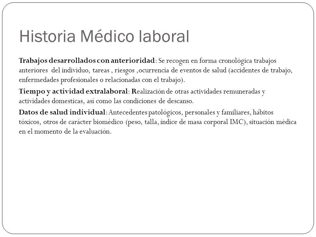Historia Médico laboral Trabajos desarrollados con anterioridad: Se recogen en forma cronológica trabajos anteriores del individuo, tareas, riesgos,oc