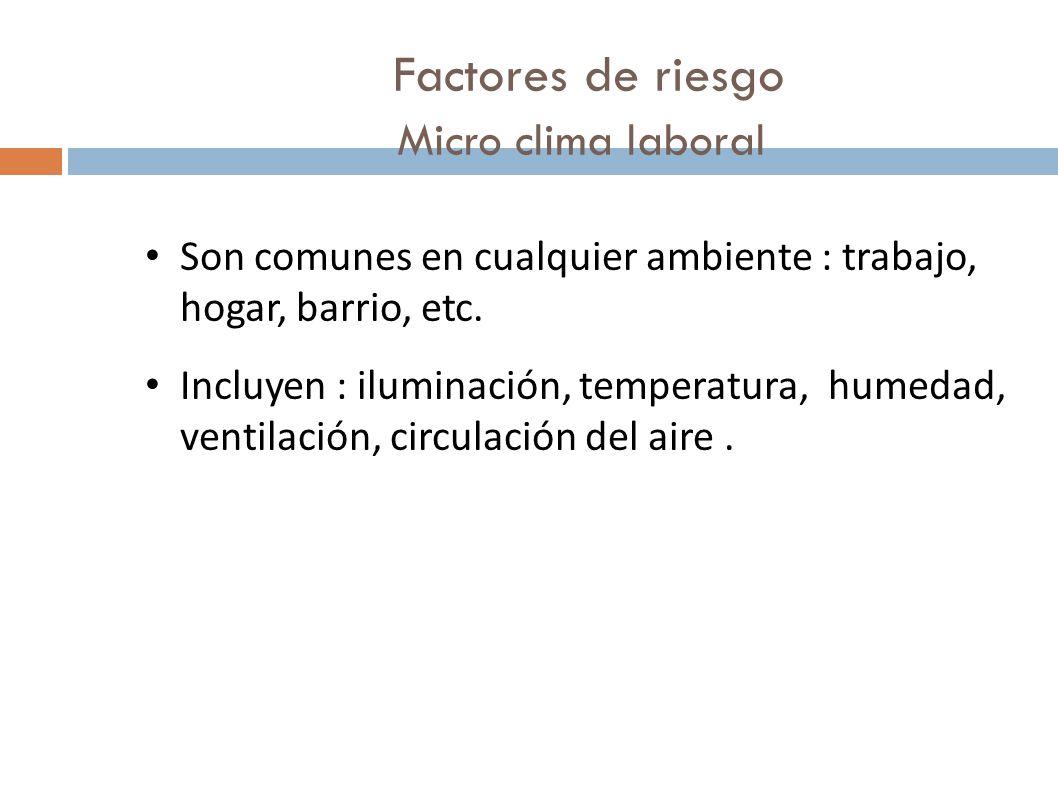 Factores de riesgo Micro clima laboral Son comunes en cualquier ambiente : trabajo, hogar, barrio, etc. Incluyen : iluminación, temperatura, humedad,