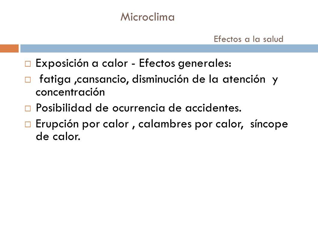 Microclima Efectos a la salud Exposición a calor - Efectos generales: fatiga,cansancio, disminución de la atención y concentración Posibilidad de ocur