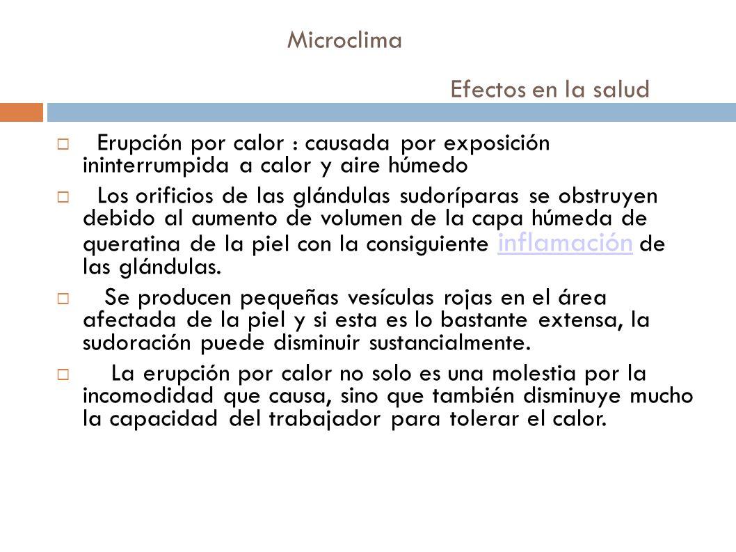 Microclima Efectos en la salud Erupción por calor : causada por exposición ininterrumpida a calor y aire húmedo Los orificios de las glándulas sudoríp