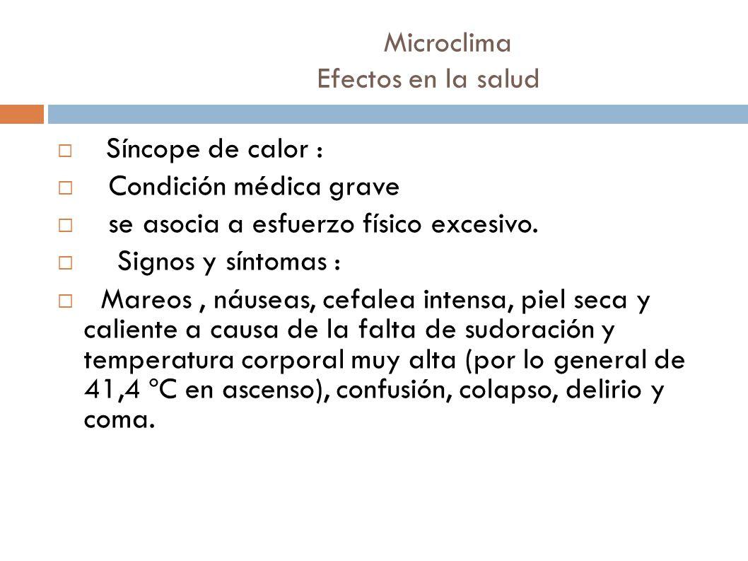 Microclima Efectos en la salud Síncope de calor : Condición médica grave se asocia a esfuerzo físico excesivo. Signos y síntomas : Mareos, náuseas, ce