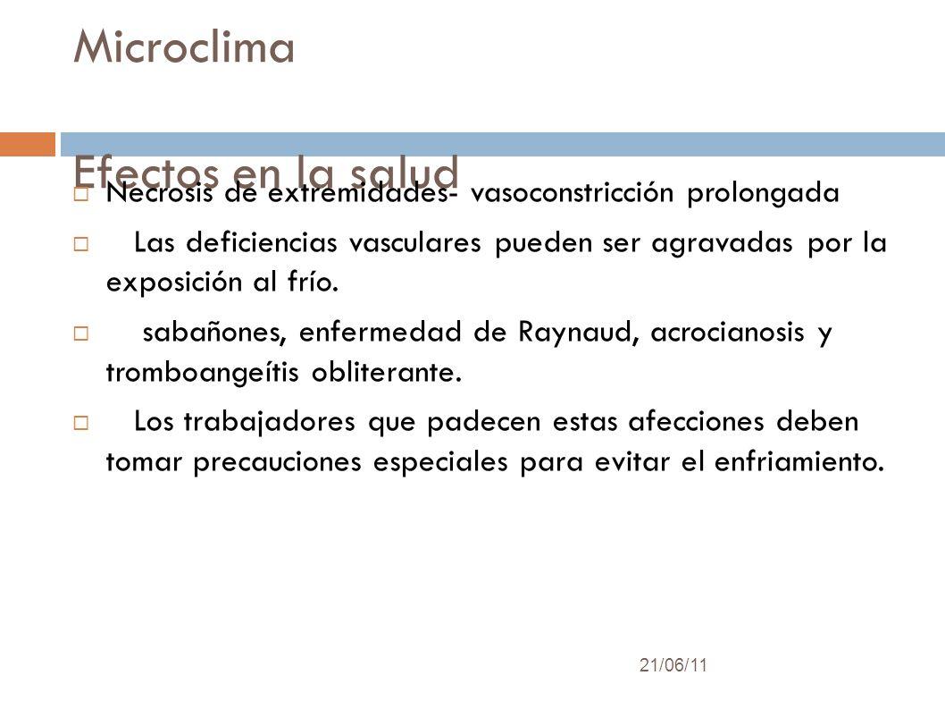Microclima Efectos en la salud 21/06/11 Necrosis de extremidades- vasoconstricción prolongada Las deficiencias vasculares pueden ser agravadas por la