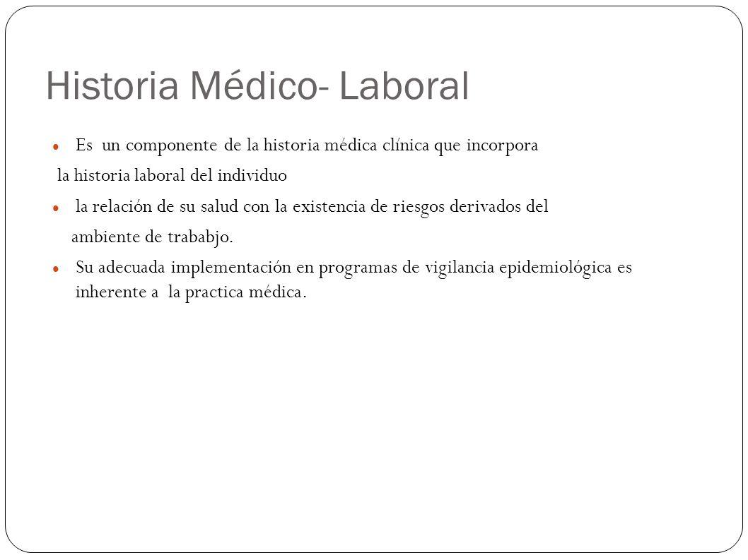 Historia Médico- Laboral Es un componente de la historia médica clínica que incorpora la historia laboral del individuo la relación de su salud con la