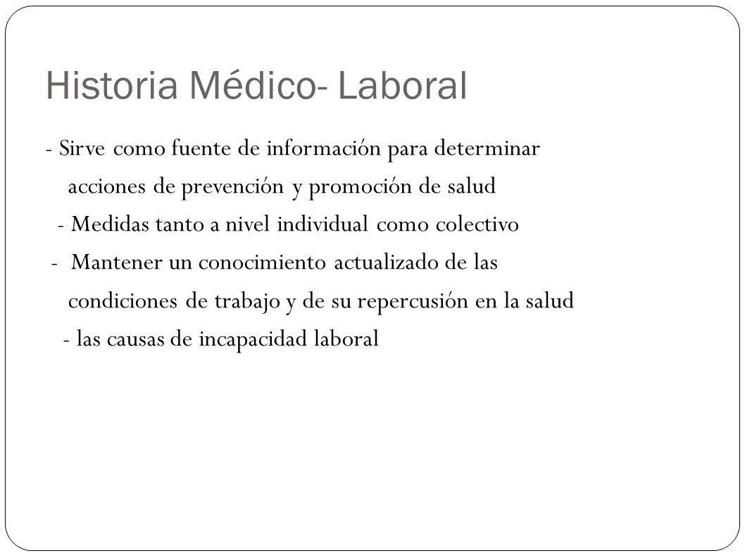 Historia Médico- Laboral - Sirve como fuente de información para determinar acciones de prevención y promoción de salud - Medidas tanto a nivel indivi