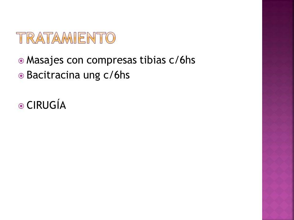 Masajes con compresas tibias c/6hs Bacitracina ung c/6hs CIRUGÍA