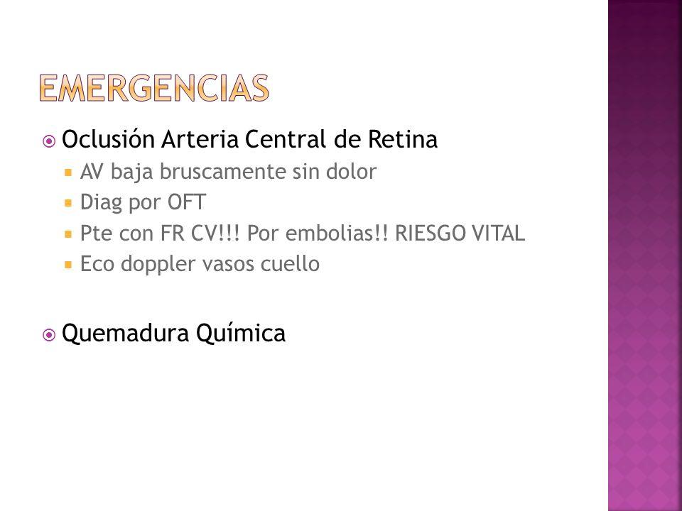 Oclusión Arteria Central de Retina AV baja bruscamente sin dolor Diag por OFT Pte con FR CV!!! Por embolias!! RIESGO VITAL Eco doppler vasos cuello Qu