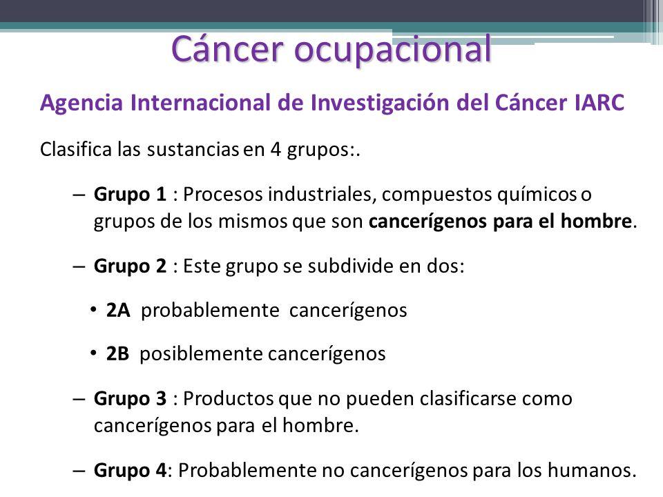 Cáncer ocupacional Agencia Internacional de Investigación del Cáncer IARC Clasifica las sustancias en 4 grupos:. – Grupo 1 : Procesos industriales, co