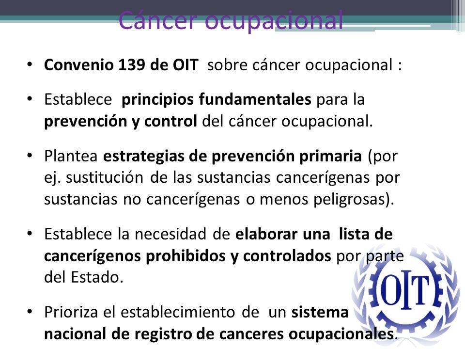 Cáncer ocupacional Convenio 139 de OIT sobre cáncer ocupacional : Establece principios fundamentales para la prevención y control del cáncer ocupacion