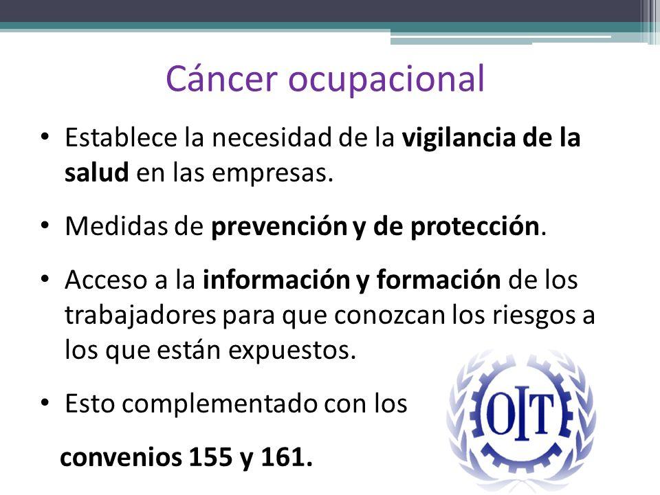 Cáncer ocupacional Establece la necesidad de la vigilancia de la salud en las empresas. Medidas de prevención y de protección. Acceso a la información