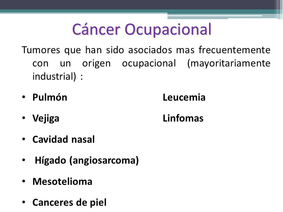 Cáncer Ocupacional Tumores que han sido asociados mas frecuentemente con un origen ocupacional (mayoritariamente industrial) : Pulmón Leucemia Vejiga