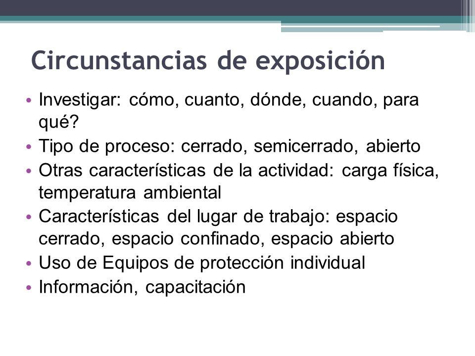 Circunstancias de exposición Investigar: cómo, cuanto, dónde, cuando, para qué? Tipo de proceso: cerrado, semicerrado, abierto Otras características d