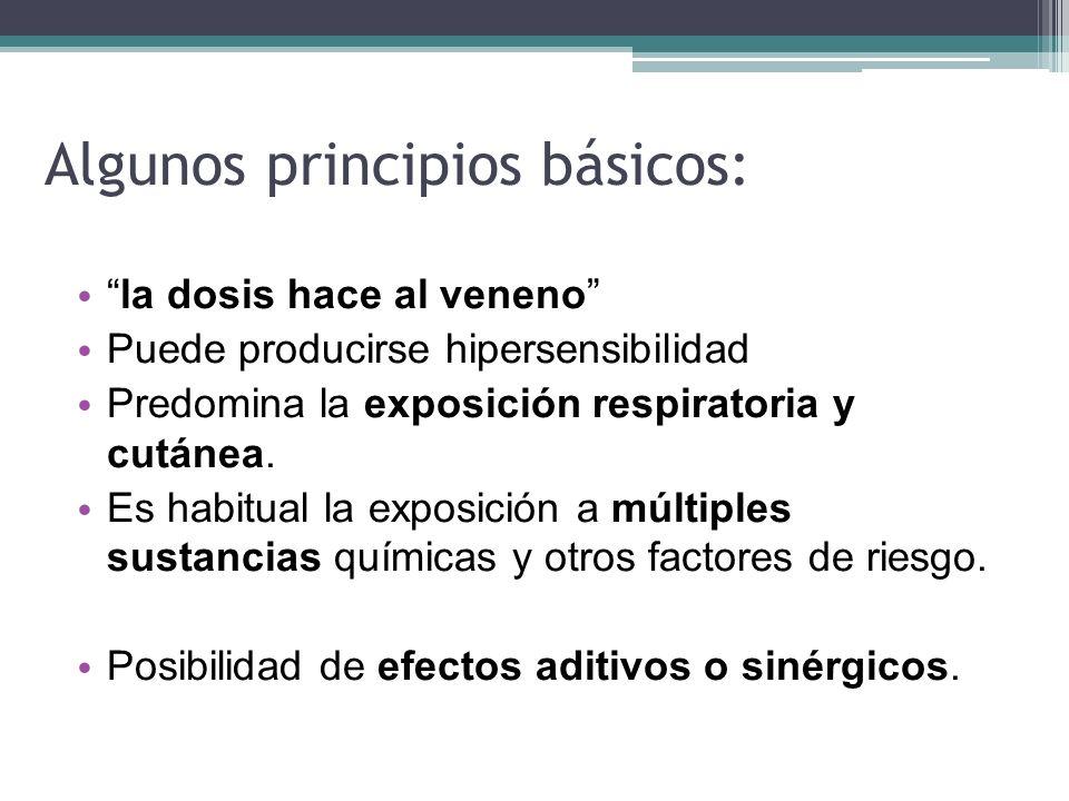 Algunos principios básicos: la dosis hace al veneno Puede producirse hipersensibilidad Predomina la exposición respiratoria y cutánea. Es habitual la