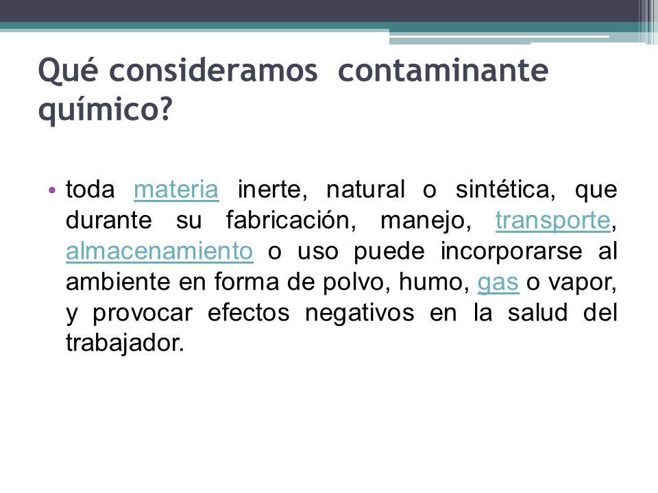 Qué consideramos contaminante químico? toda materia inerte, natural o sintética, que durante su fabricación, manejo, transporte, almacenamiento o uso