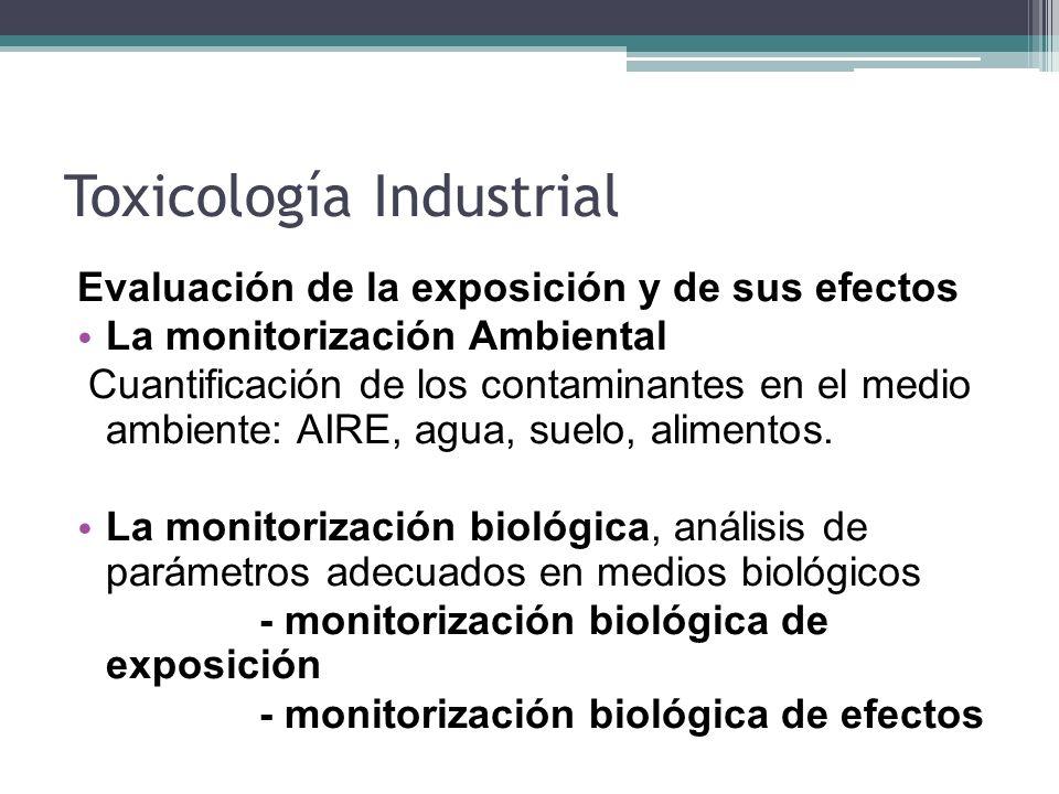 Toxicología Industrial Evaluación de la exposición y de sus efectos La monitorización Ambiental Cuantificación de los contaminantes en el medio ambien