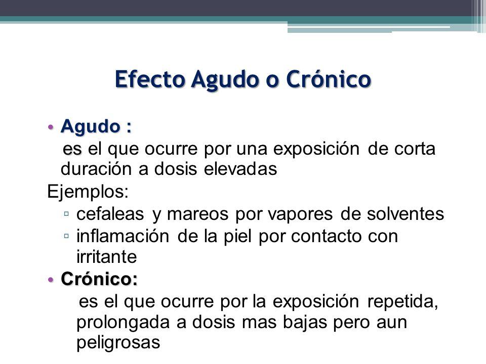 Efecto Agudo o Crónico Agudo : Agudo : es es el que ocurre por una exposición de corta duración a dosis elevadas Ejemplos: cefaleas y mareos por vapor