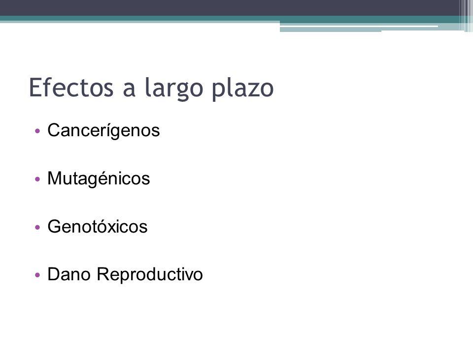 Efectos a largo plazo Cancerígenos Mutagénicos Genotóxicos Dano Reproductivo