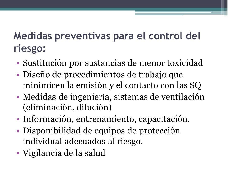 Medidas preventivas para el control del riesgo: Sustitución por sustancias de menor toxicidad Diseño de procedimientos de trabajo que minimicen la emi