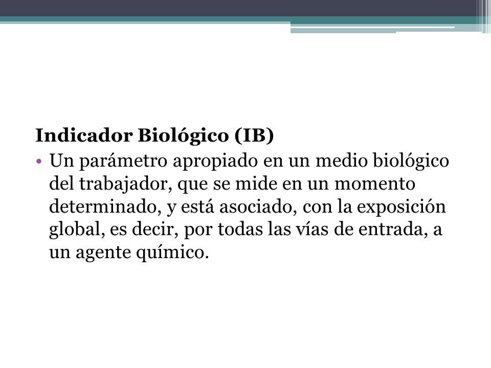 Indicador Biológico (IB) Un parámetro apropiado en un medio biológico del trabajador, que se mide en un momento determinado, y está asociado, con la e
