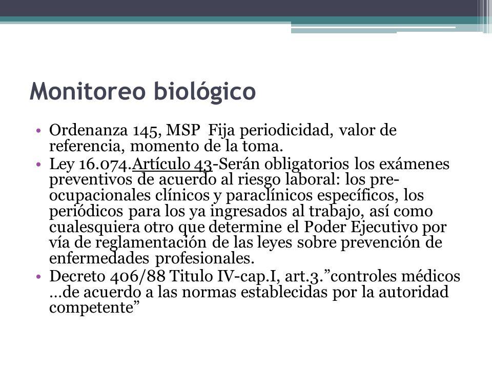 Monitoreo biológico Ordenanza 145, MSP Fija periodicidad, valor de referencia, momento de la toma. Ley 16.074.Artículo 43-Serán obligatorios los exáme