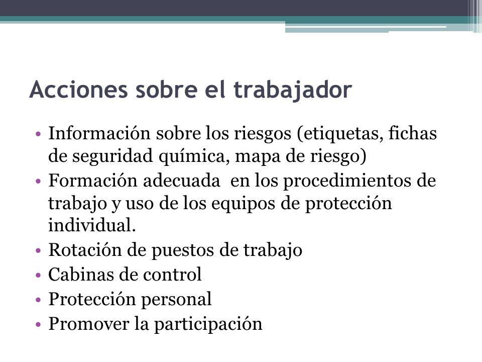 Acciones sobre el trabajador Información sobre los riesgos (etiquetas, fichas de seguridad química, mapa de riesgo) Formación adecuada en los procedim