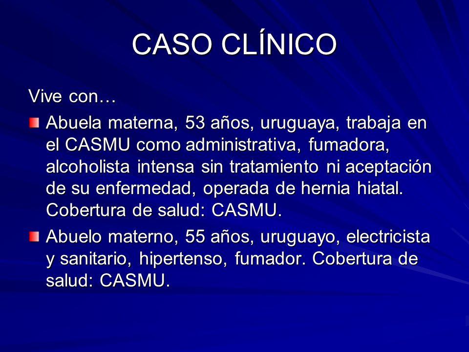 CASO CLÍNICO Vive con… Abuela materna, 53 años, uruguaya, trabaja en el CASMU como administrativa, fumadora, alcoholista intensa sin tratamiento ni ac