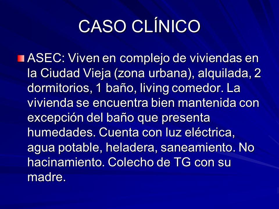 CASO CLÍNICO ASEC: Viven en complejo de viviendas en la Ciudad Vieja (zona urbana), alquilada, 2 dormitorios, 1 baño, living comedor. La vivienda se e