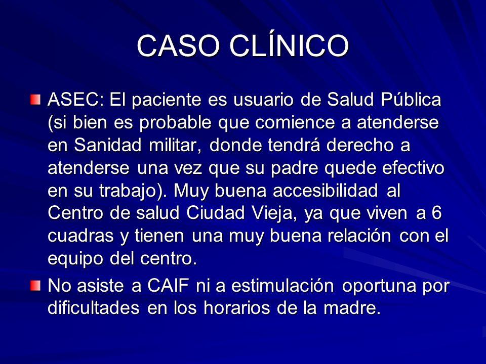 CASO CLÍNICO ASEC: El paciente es usuario de Salud Pública (si bien es probable que comience a atenderse en Sanidad militar, donde tendrá derecho a at