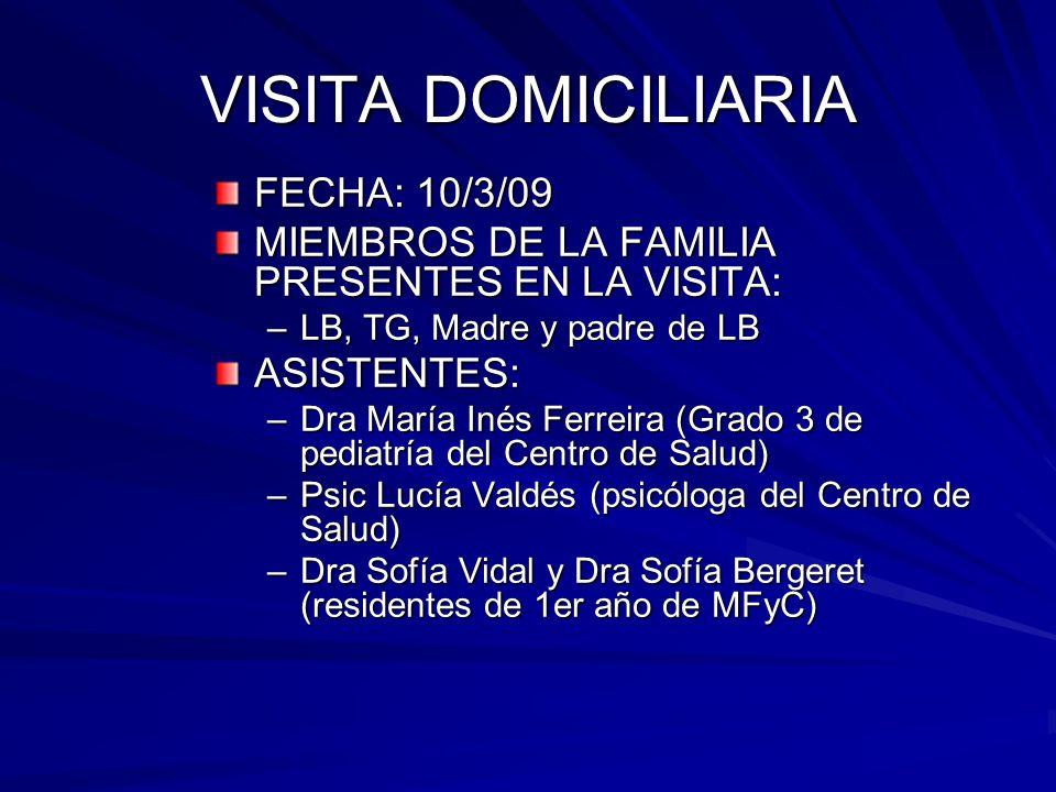 VISITA DOMICILIARIA FECHA: 10/3/09 MIEMBROS DE LA FAMILIA PRESENTES EN LA VISITA: –LB, TG, Madre y padre de LB ASISTENTES: –Dra María Inés Ferreira (G