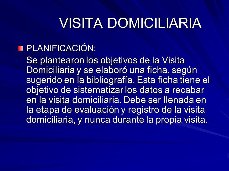 VISITA DOMICILIARIA PLANIFICACIÓN: Se plantearon los objetivos de la Visita Domiciliaria y se elaboró una ficha, según sugerido en la bibliografía. Es