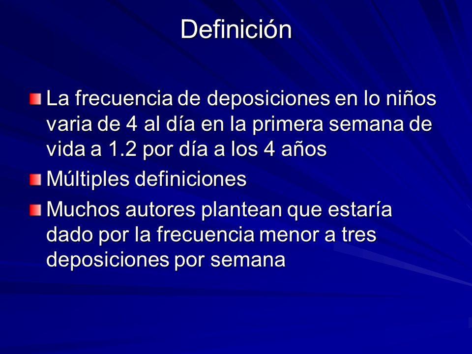 Definición La frecuencia de deposiciones en lo niños varia de 4 al día en la primera semana de vida a 1.2 por día a los 4 años Múltiples definiciones