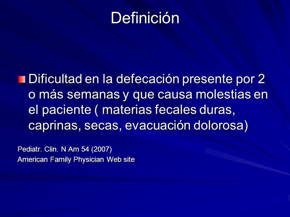 Definición Dificultad en la defecación presente por 2 o más semanas y que causa molestias en el paciente ( materias fecales duras, caprinas, secas, ev