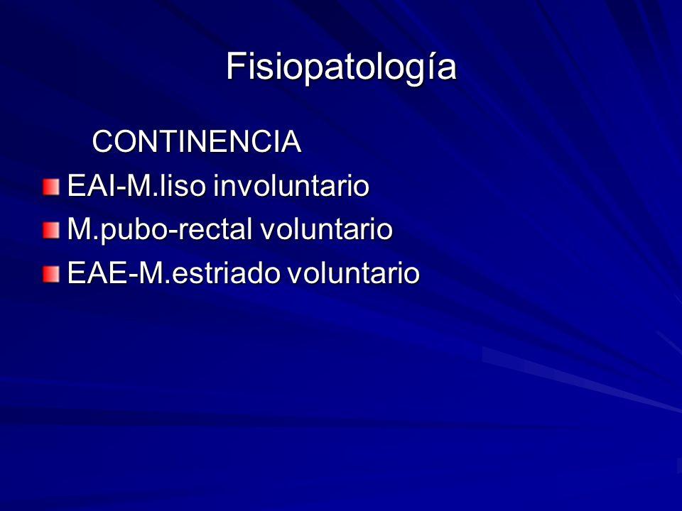 Fisiopatología CONTINENCIA CONTINENCIA EAI-M.liso involuntario M.pubo-rectal voluntario EAE-M.estriado voluntario