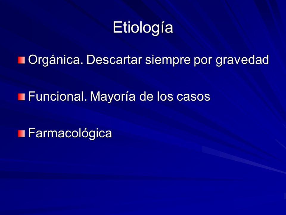 Etiología Orgánica. Descartar siempre por gravedad Funcional. Mayoría de los casos Farmacológica