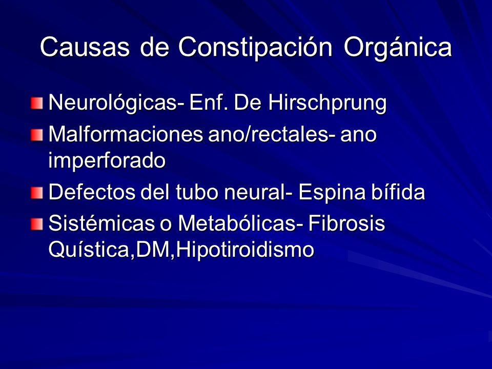 Causas de Constipación Orgánica Neurológicas- Enf. De Hirschprung Malformaciones ano/rectales- ano imperforado Defectos del tubo neural- Espina bífida