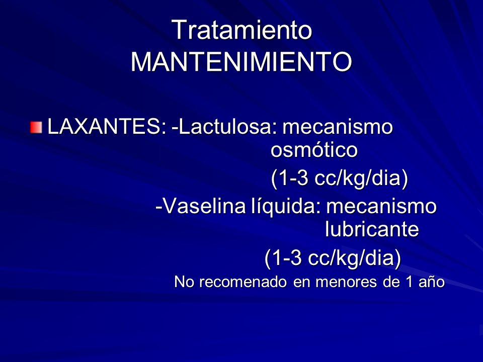 Tratamiento MANTENIMIENTO LAXANTES: -Lactulosa: mecanismo osmótico (1-3 cc/kg/dia) -Vaselina líquida: mecanismo lubricante -Vaselina líquida: mecanism