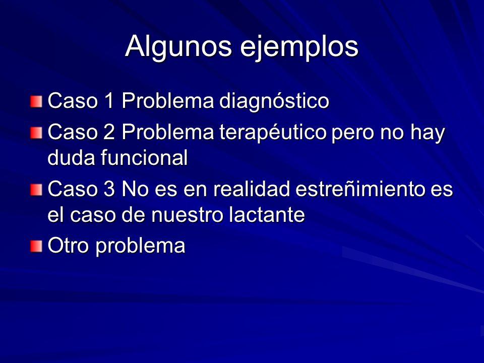 Algunos ejemplos Caso 1 Problema diagnóstico Caso 2 Problema terapéutico pero no hay duda funcional Caso 3 No es en realidad estreñimiento es el caso