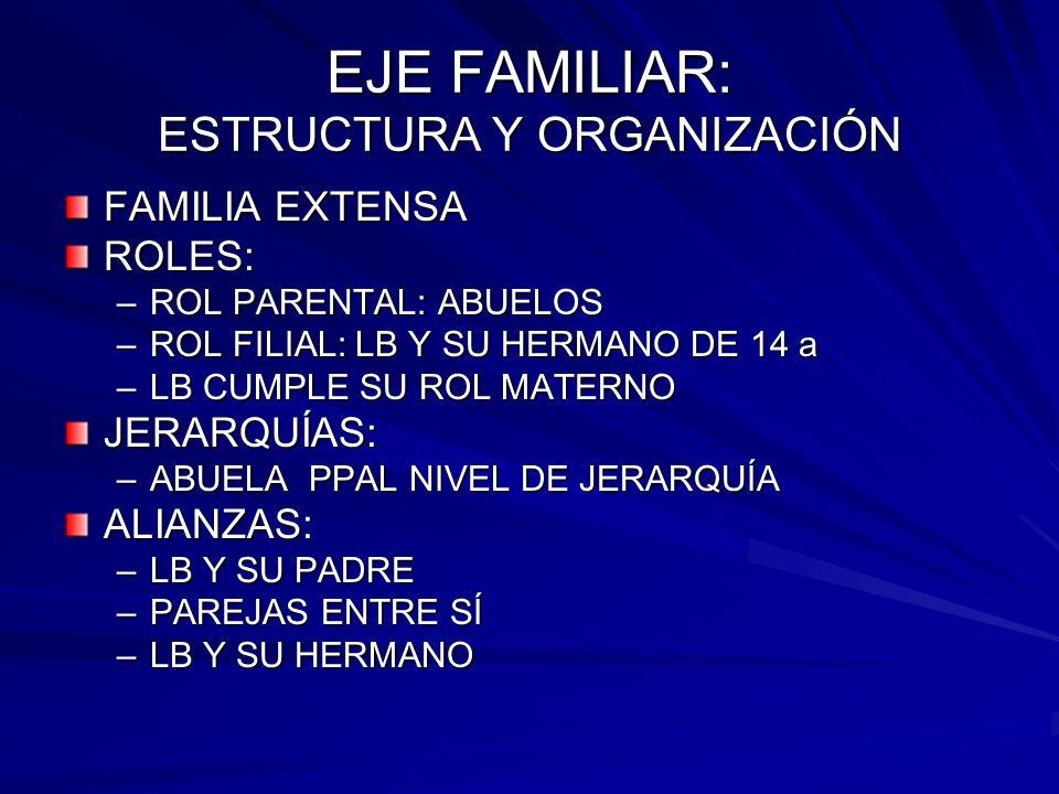 EJE FAMILIAR: ESTRUCTURA Y ORGANIZACIÓN FAMILIA EXTENSA ROLES: –ROL PARENTAL: ABUELOS –ROL FILIAL: LB Y SU HERMANO DE 14 a –LB CUMPLE SU ROL MATERNO J