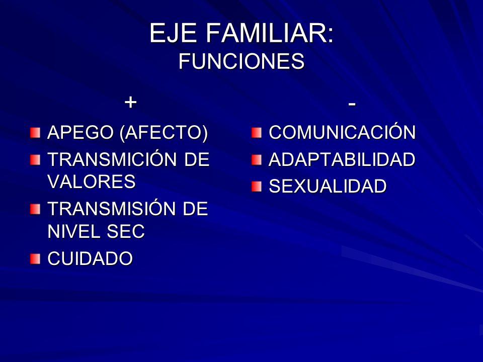 EJE FAMILIAR: FUNCIONES + APEGO (AFECTO) TRANSMICIÓN DE VALORES TRANSMISIÓN DE NIVEL SEC CUIDADO-COMUNICACIÓNADAPTABILIDADSEXUALIDAD