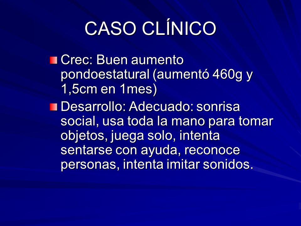 CASO CLÍNICO A Inm: CEV vigente (recibió BCG al nacer, DPT, HB, Hib, antipolio y neuma C7V a los 2 y 4 meses) Alimentación: PDE hasta los 4 meses.