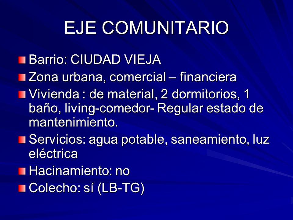 EJE COMUNITARIO Barrio: CIUDAD VIEJA Zona urbana, comercial – financiera Vivienda : de material, 2 dormitorios, 1 baño, living-comedor- Regular estado